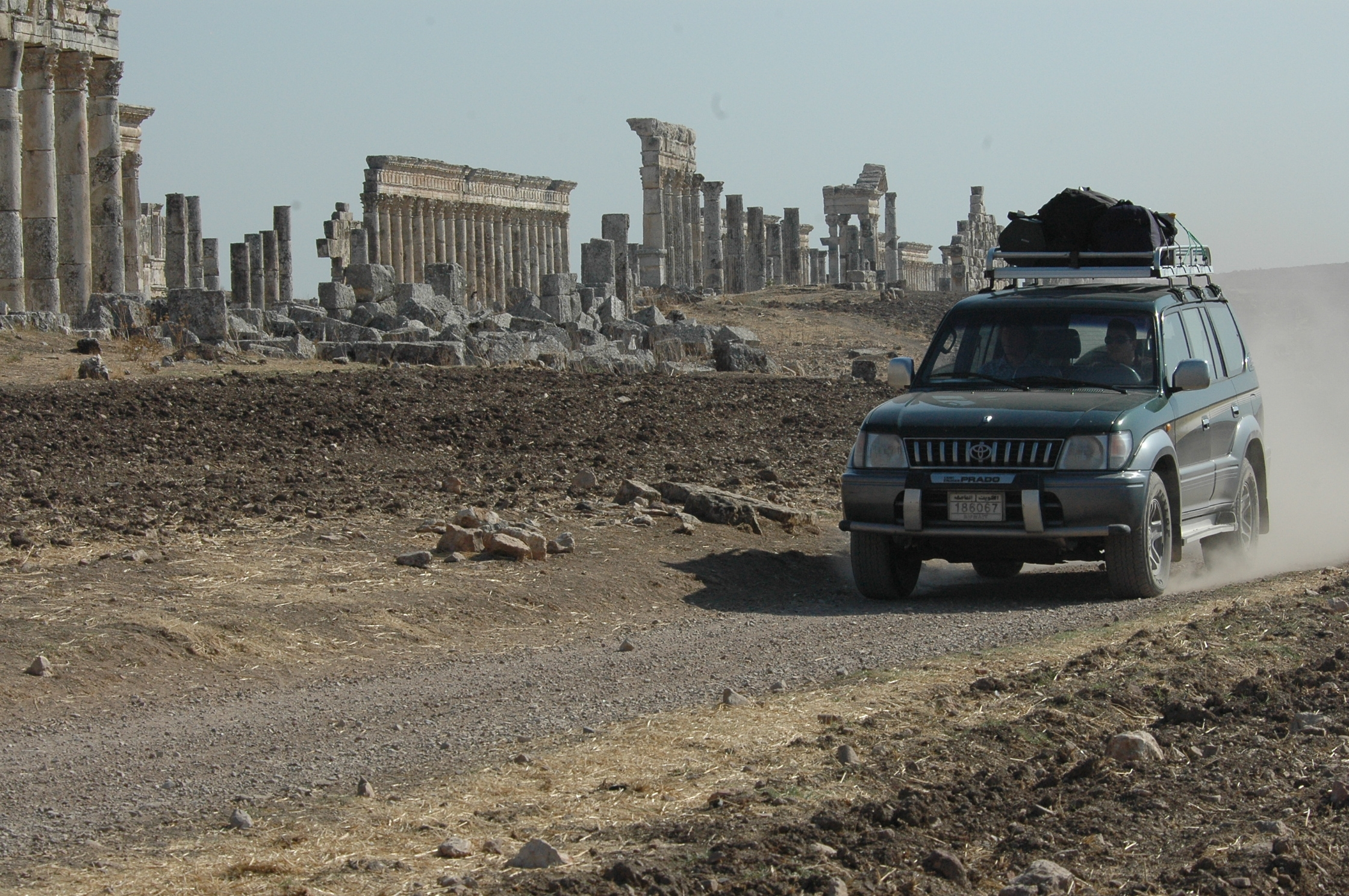 Stewart Innes Syria filming Palmyra Dom Joly Toyota Prado, the ultimate long distance travel vehicle
