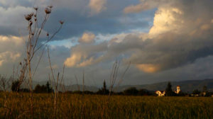 Stewart Innes Church in field at sunset under cloudy sky in Cyprus Facebook